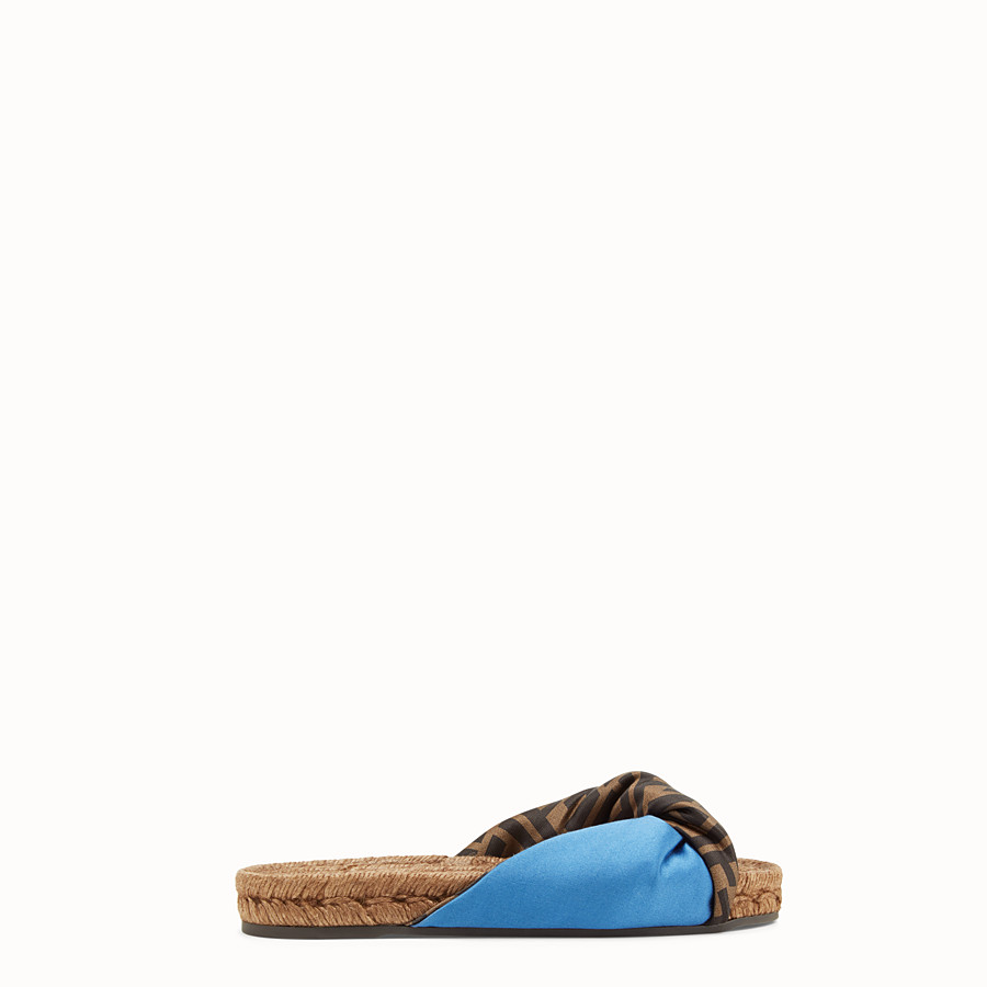 FENDI SANDALS - Blue satin slides - view 1 detail