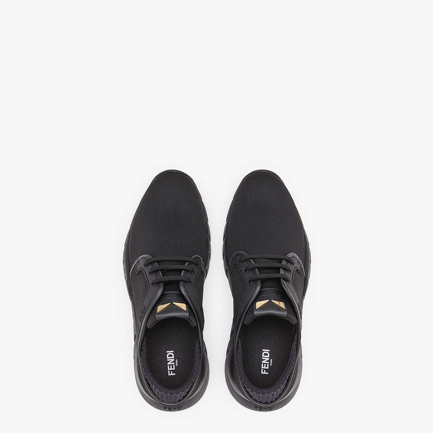 FENDI SNEAKERS - Black tech fabric sneakers - view 4 detail