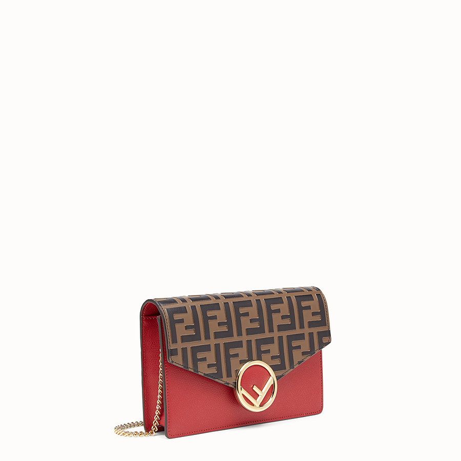 FENDI WALLET ON CHAIN - Red leather minibag - view 2 detail
