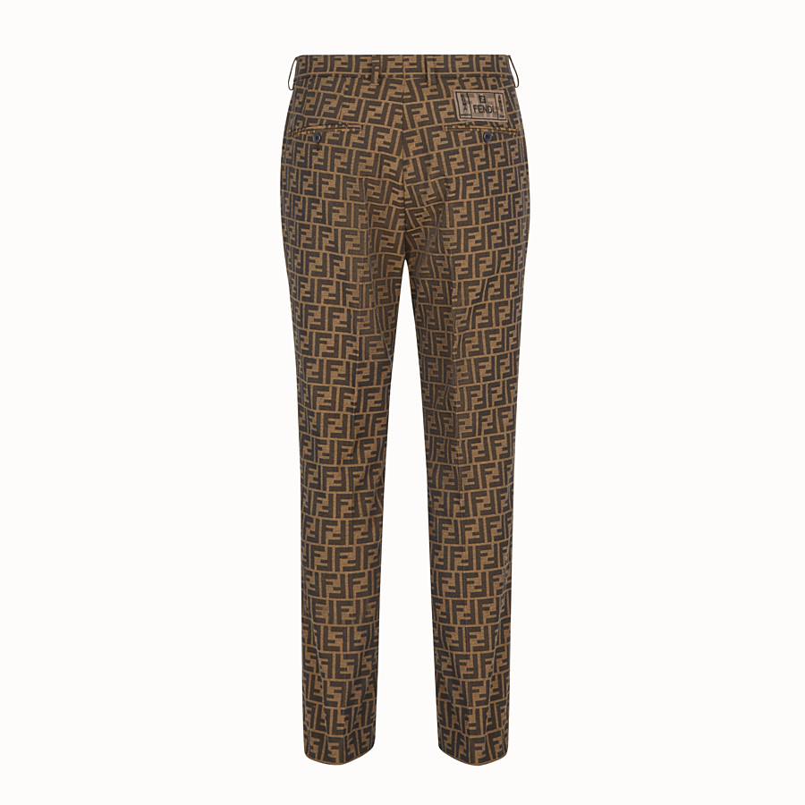 FENDI TROUSERS - Brown fabric trousers - view 2 detail