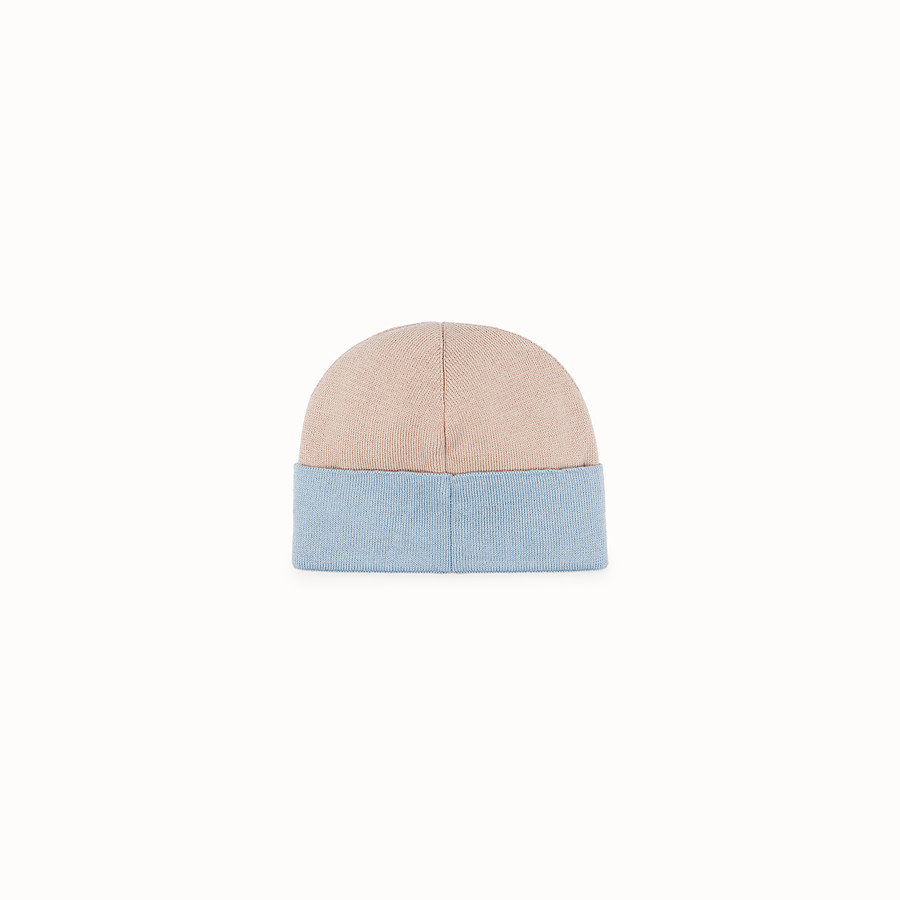 FENDI HAT - Beige and light blue wool hat - view 2 detail