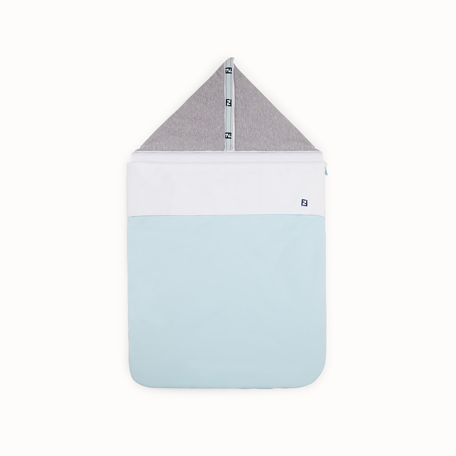 FENDI BABY SLEEPING BAG - Grey and light blue cotton and sweatshirt-fleece baby sleeping bag - view 1 detail