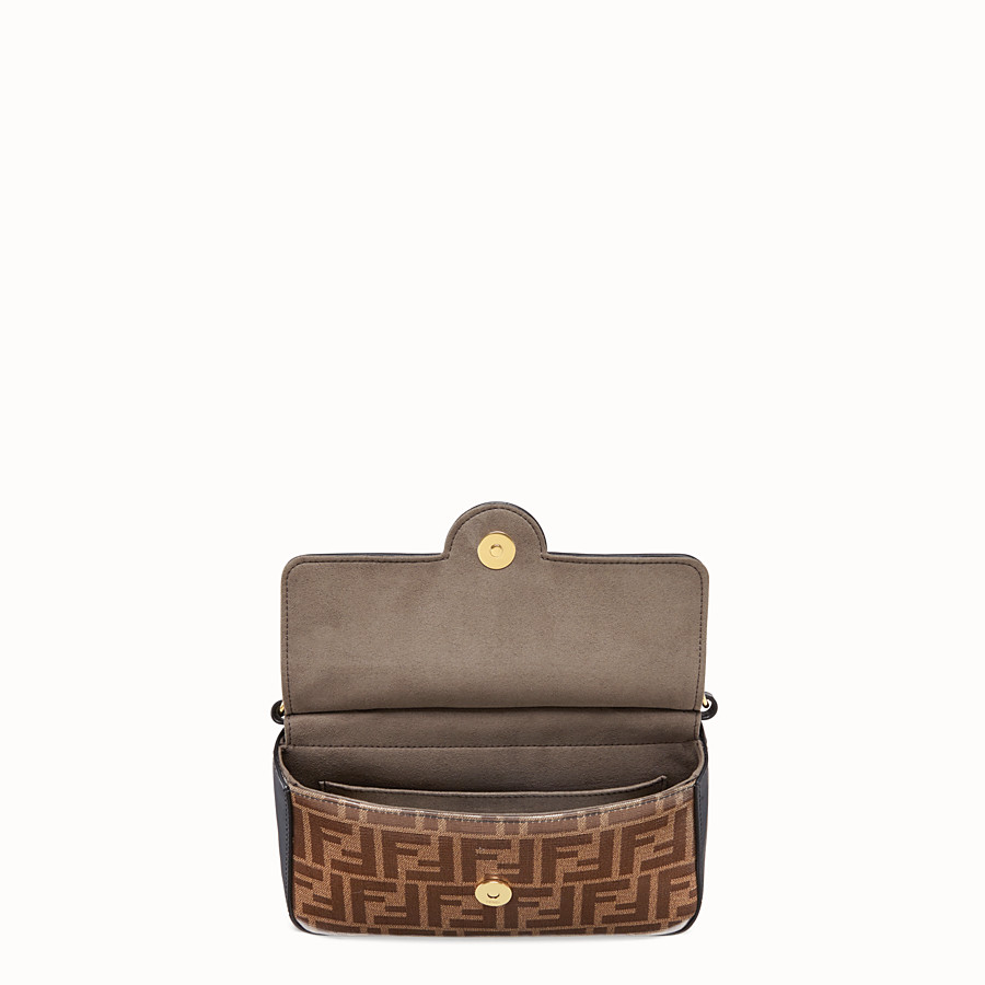 FENDI DOUBLE F SMALL - Brown leather and fabric bag - view 5 detail