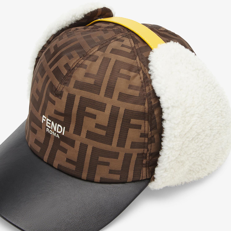FENDI HAT - Brown fabric and sheepskin baseball cap - view 3 detail