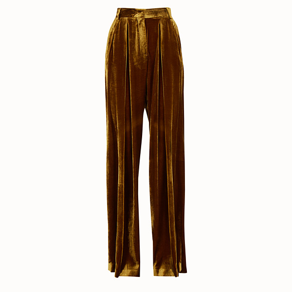 FENDI TROUSERS - Yellow velvet trousers - view 1 small thumbnail