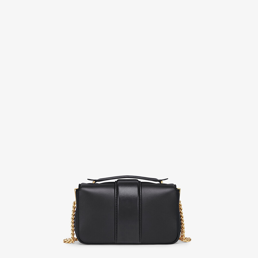 FENDI MINI BAGUETTE CHAIN - Black nappa leather bag - view 3 detail
