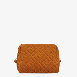 FENDI MEDIUM BEAUTY POUCH - Brown terrycloth toiletry case - view 1 thumbnail