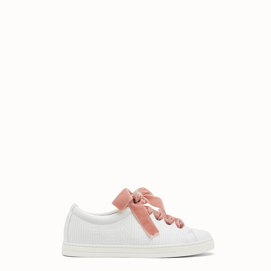 FENDI SNEAKERS - White leather sneakers - view 1 detail