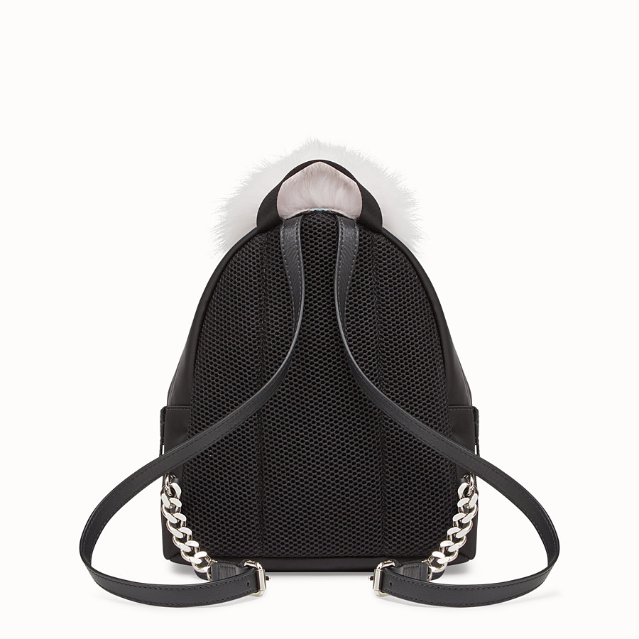 FENDI BACKPACK MINI - Small black fabric and leather backpack - view 3 detail