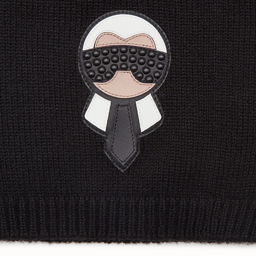 FENDI HAT - Karlito hat in black cashmere - view 2 detail