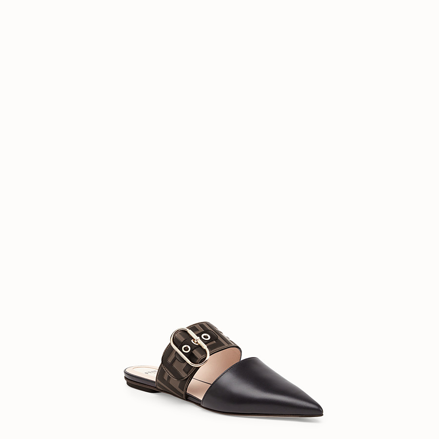 FENDI SABOT - Black leather slingbacks - view 2 detail