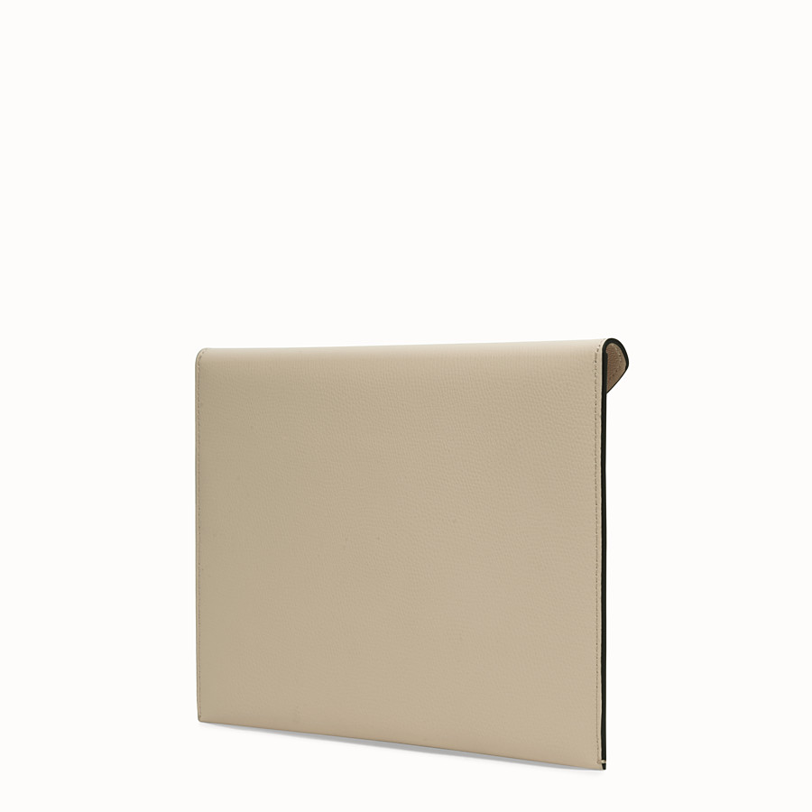FENDI FLAT POUCH - Beige leather pouch - view 2 detail