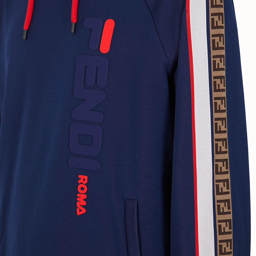 FENDI SWEATSHIRT - Blue cotton jersey sweatshirt and trousers - view 4 detail