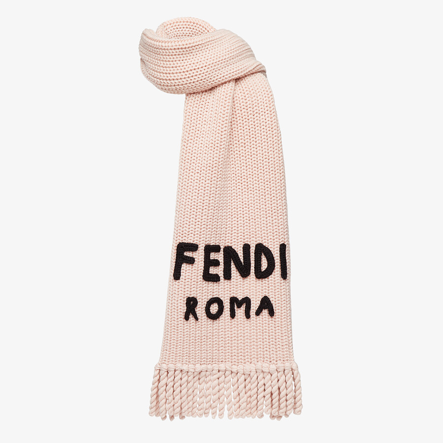 FENDI SIGNATURE SCARF - Pink wool scarf - view 2 detail
