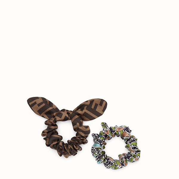 FENDI HAIR ELASTICS - Set of two green silk hairbands - view 1 small thumbnail