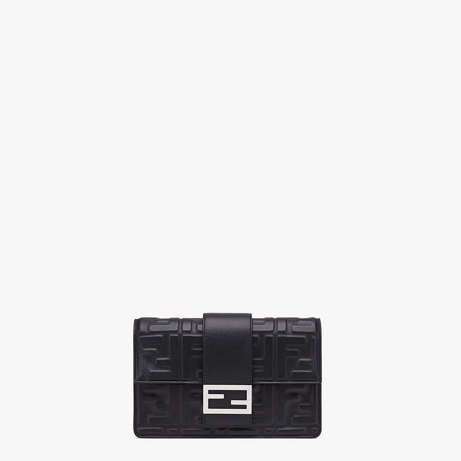 FENDI STANDING CLUTCH - Black nappa leather clutch - view 1 detail