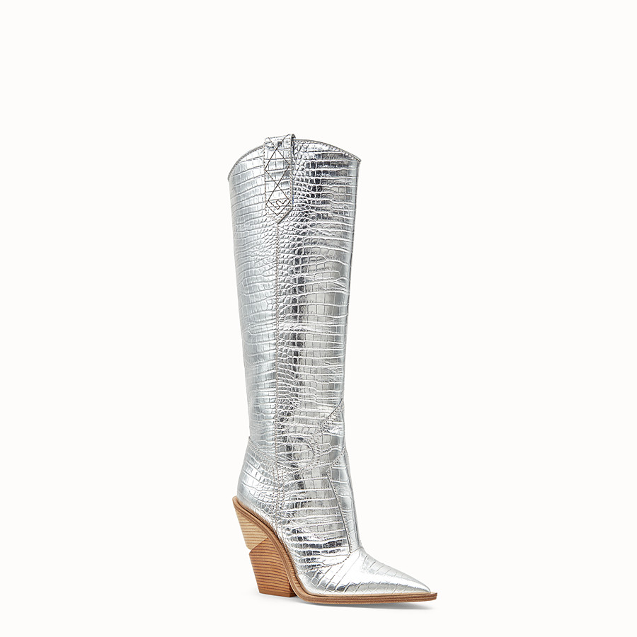 FENDI BOOTS - Silver leather boots - view 2 detail