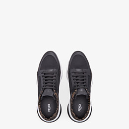 FENDI SNEAKERS - Black tech mesh and leather low-tops - view 4 thumbnail