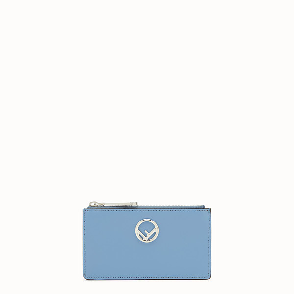 FENDI CARD POUCH - Light blue leather pouch - view 1 small thumbnail
