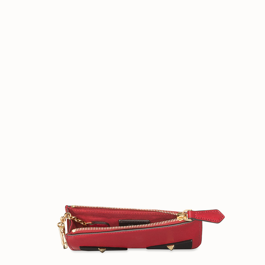 FENDI KEY RING POUCH - Red leather pouch - view 4 detail