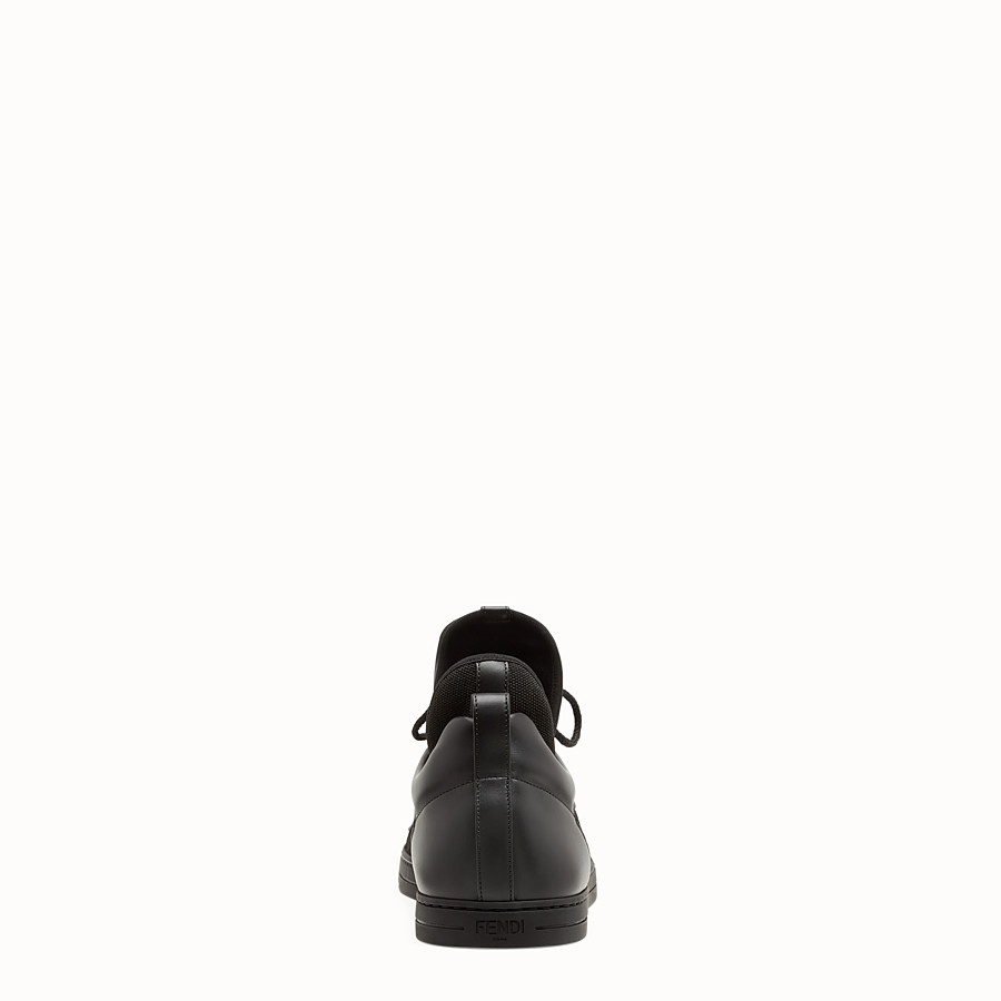 FENDI SNEAKERS - Black leather and tech fabric high-tops - view 3 detail