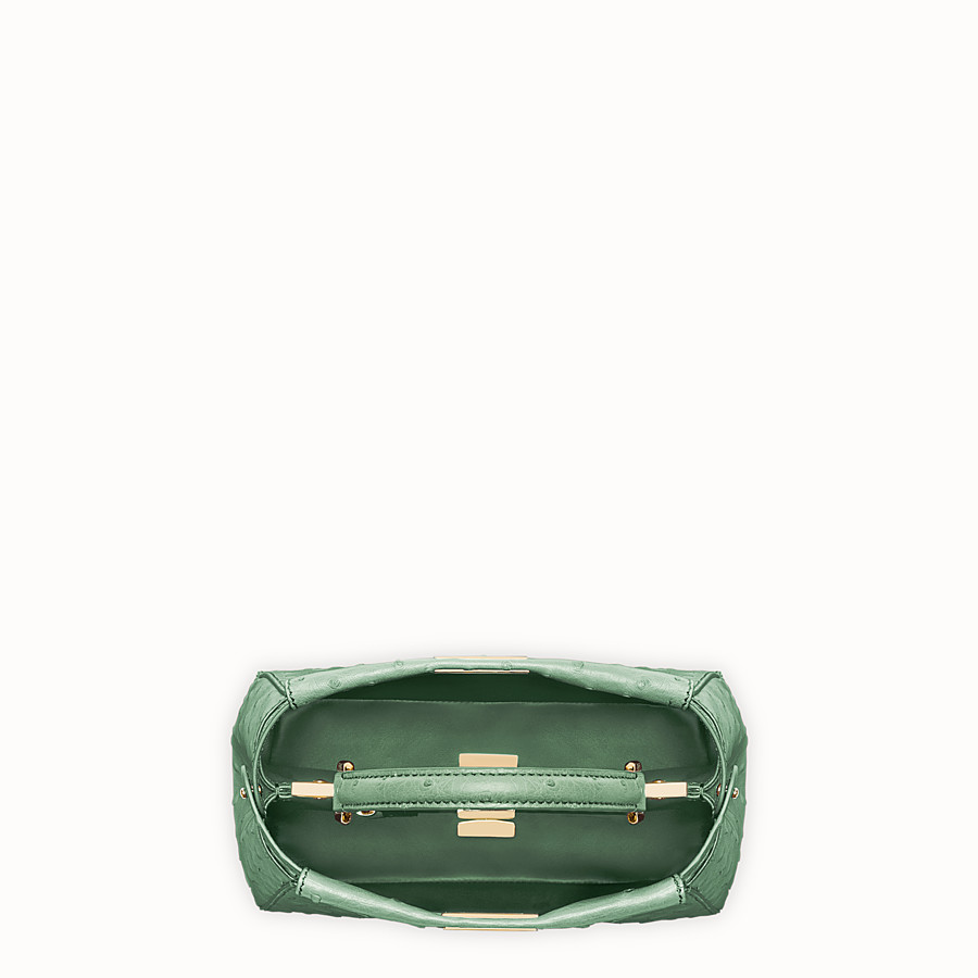 FENDI PEEKABOO MINI - Green ostrich leather handbag. - view 4 detail