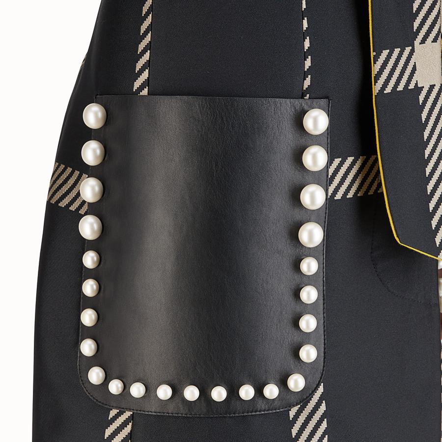 FENDI TRENCH - Black Macrocheck fabric coat - view 3 detail
