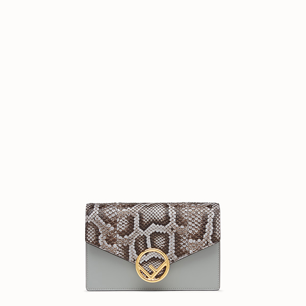 FENDI WALLET ON CHAIN - Grey leather mini-bag, exotic details - view 1 small thumbnail