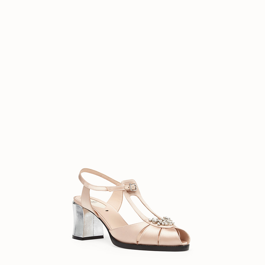FENDI SANDALS - Pink satin sandals - view 2 detail