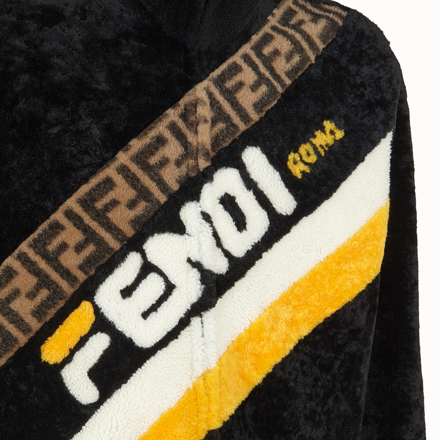 FENDI DENIM - Black sheepskin jacket - view 3 detail