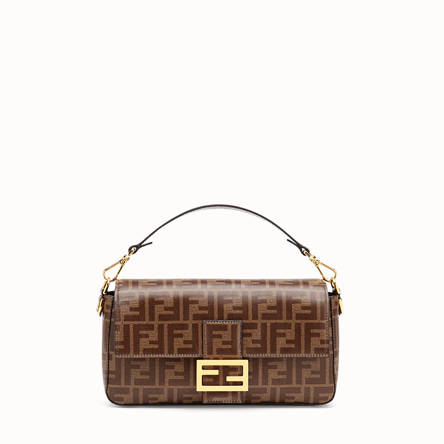 FENDI BAGUETTE WITH CAGE - Brown fabric bag - view 3 detail