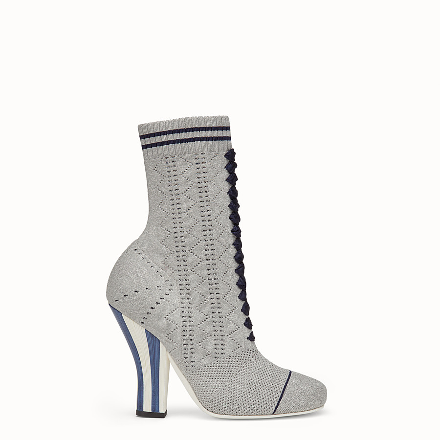 FENDI BOOTS - Grey fabric boots - view 1 detail