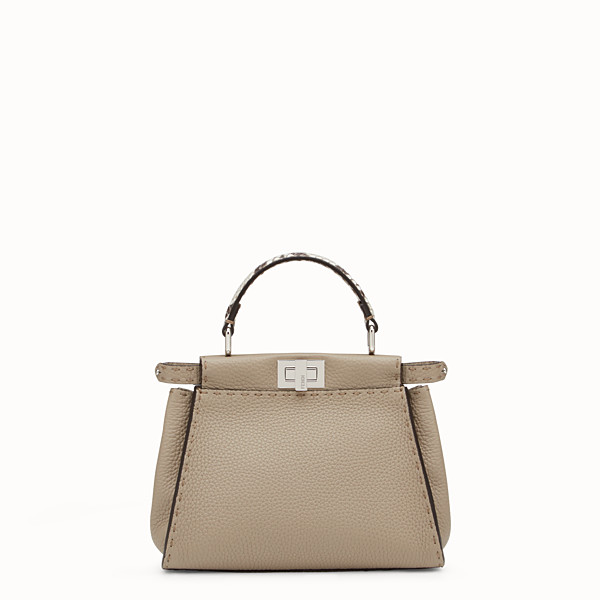 FENDI PEEKABOO ICONIC MINI - Dove-grey Selleria handbag - view 1 small thumbnail