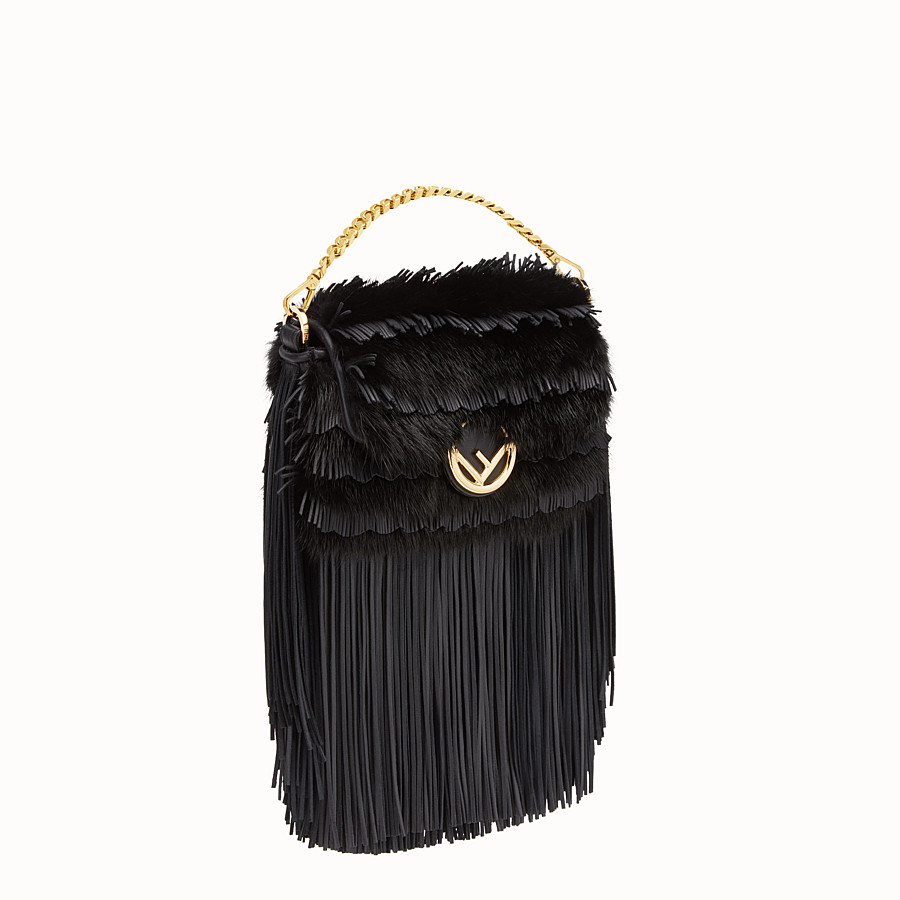 FENDI MICRO BAGUETTE - Micro-bag in black leather and mink - view 2 detail