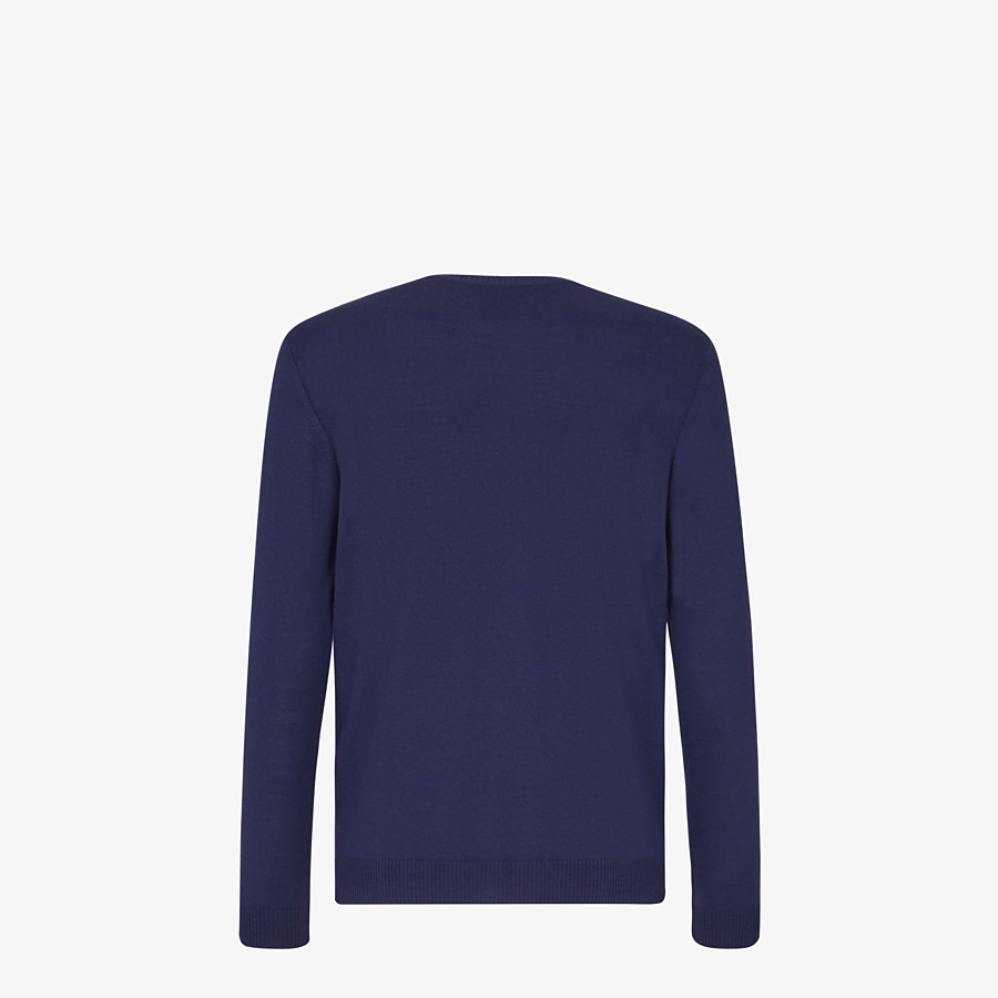 FENDI SWEATER - Blue wool sweater - view 2 detail