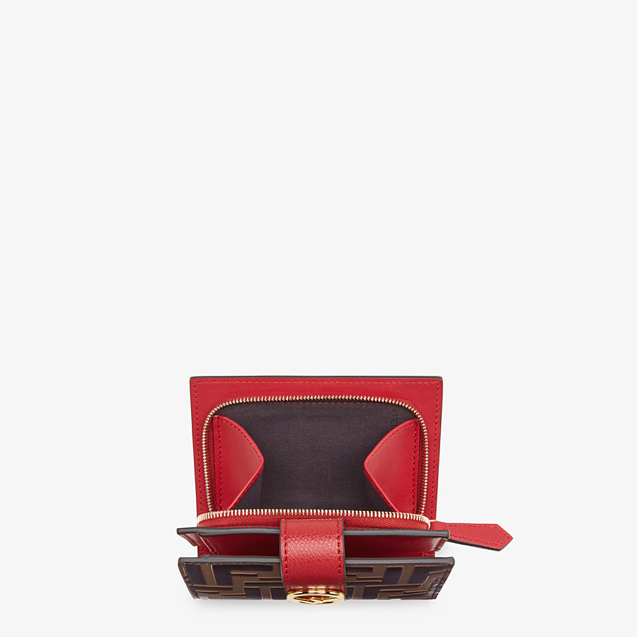 FENDI BIFOLD - Red leather compact wallet - view 4 detail