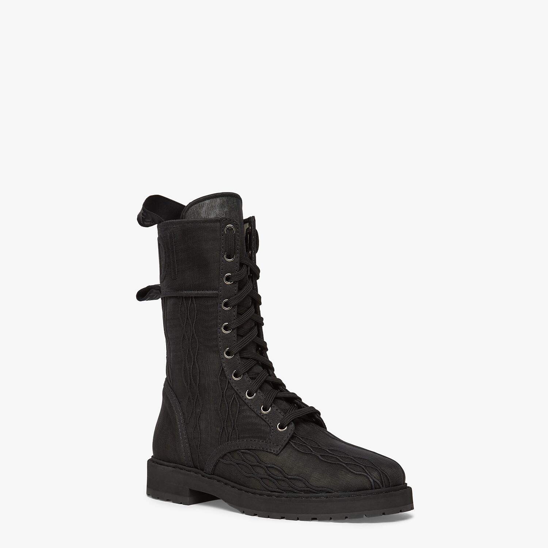 FENDI SIGNATURE BIKER BOOTS - Black canvas boots - view 2 detail