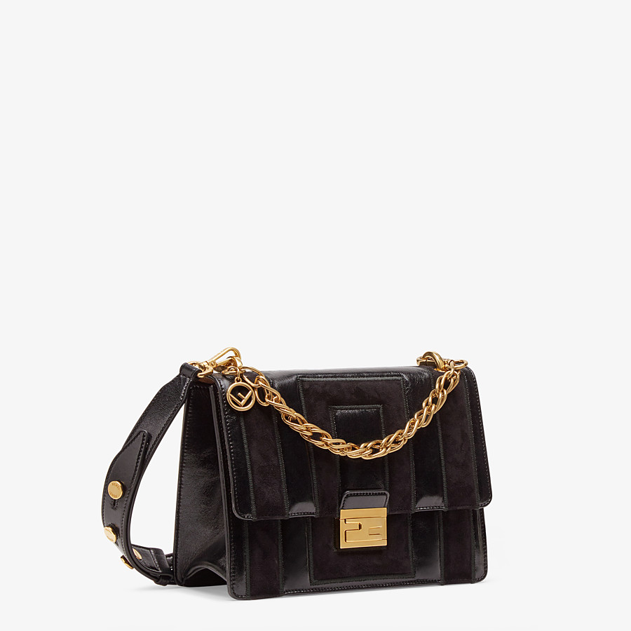 FENDI KAN U - Black leather and suede bag - view 3 detail