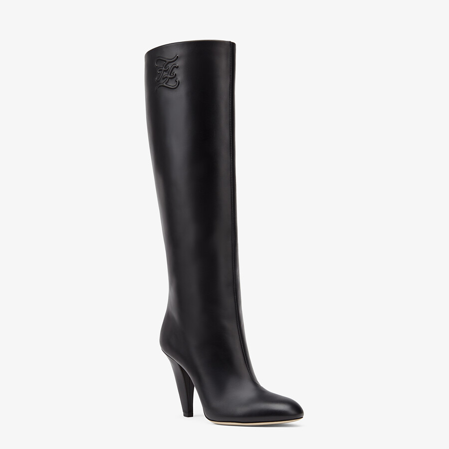 FENDI KARLIGRAPHY - Black leather, high-heeled boots - view 2 detail