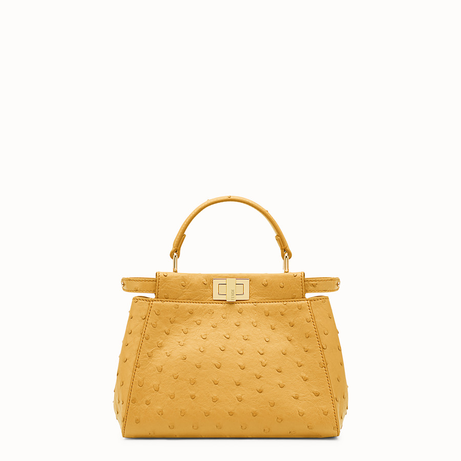 FENDI PEEKABOO MINI - Yellow ostrich leather handbag. - view 1 detail