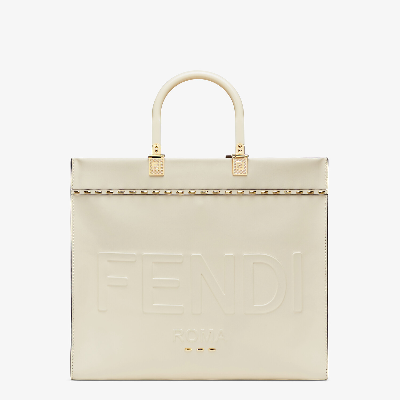 FENDI FENDI SUNSHINE MEDIUM - White leather shopper - view 1 detail