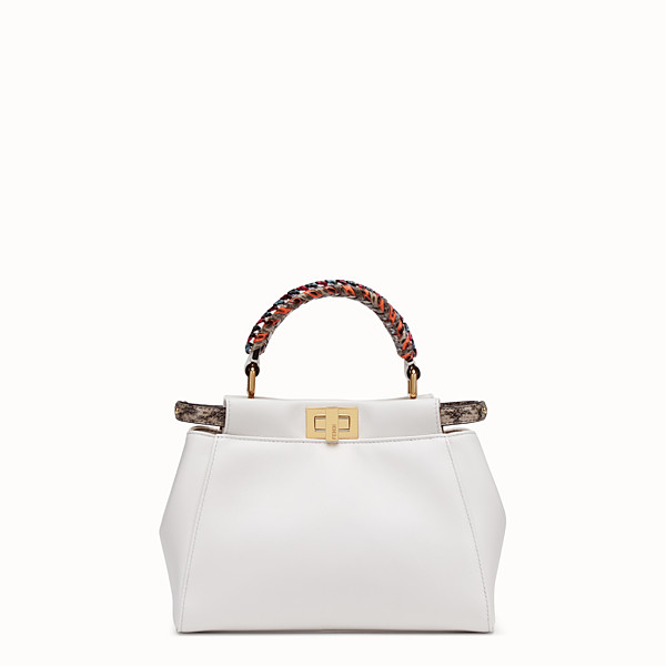 FENDI PEEKABOO MINI - White leather bag with exotic details - view 1 small thumbnail