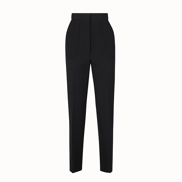 FENDI TROUSERS - Trousers in black gabardine - view 1 small thumbnail