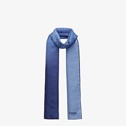 FENDI STOLE - Stole in blue silk - view 2 thumbnail