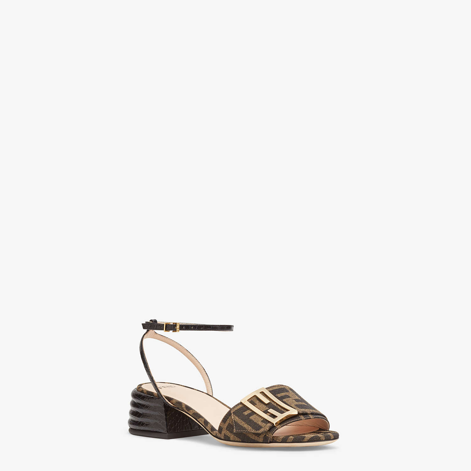 FENDI SANDALS - Brown fabric sandals - view 2 detail