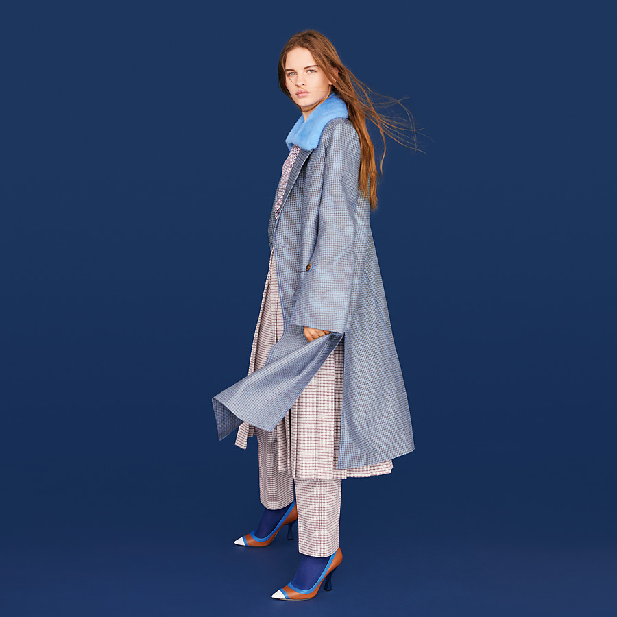 FENDI COAT - Blue wool and silk coat - view 4 detail