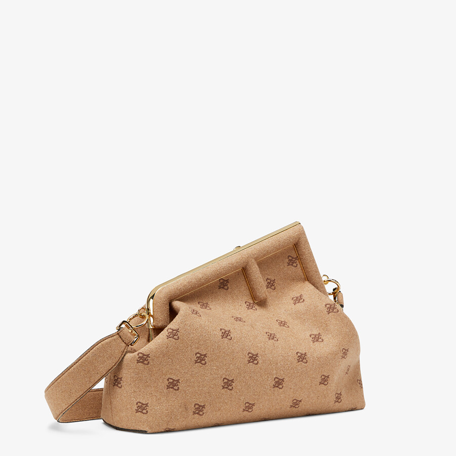 FENDI FENDI FIRST MEDIUM - Beige flannel bag with embroidery - view 3 detail