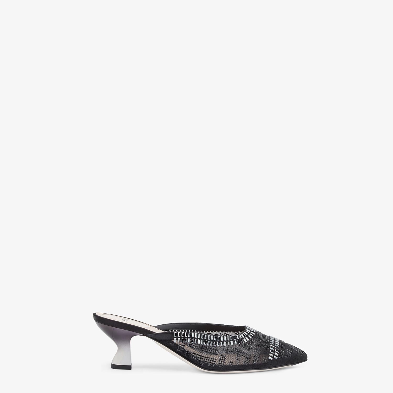 FENDI COLIBRÌ - Black mesh medium-heel sabots with rhinestone embroidery - view 1 detail