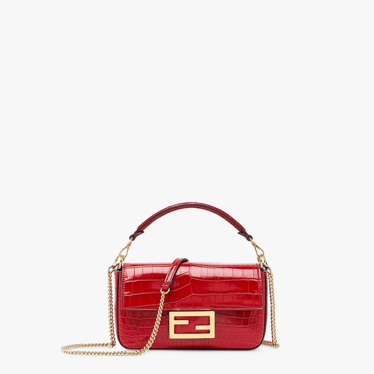 FENDI BAGUETTE - Red crocodile leather bag - view 1 detail