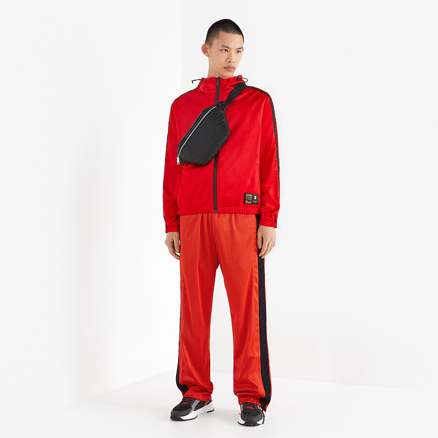 FENDI PANTS - Red tech mesh pants - view 4 detail